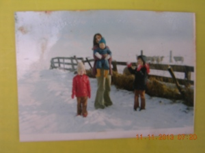 On the farm in winter 1975.
