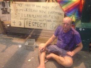 Homeless man at Byron Bay
