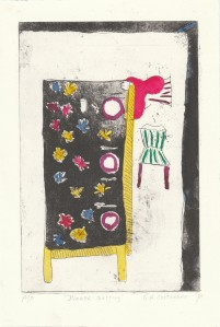 Table setting. Hand coloured etching.