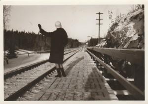 waving down the upcoming train at Ankeriasjarvi 1965.
